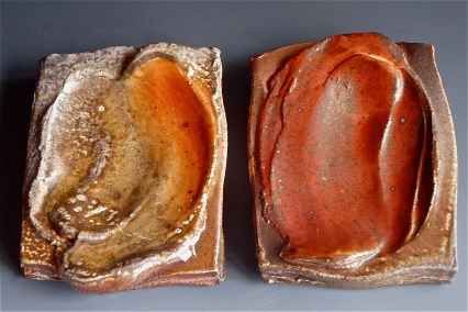 Small desert plates glazed with high alumina shino glaze