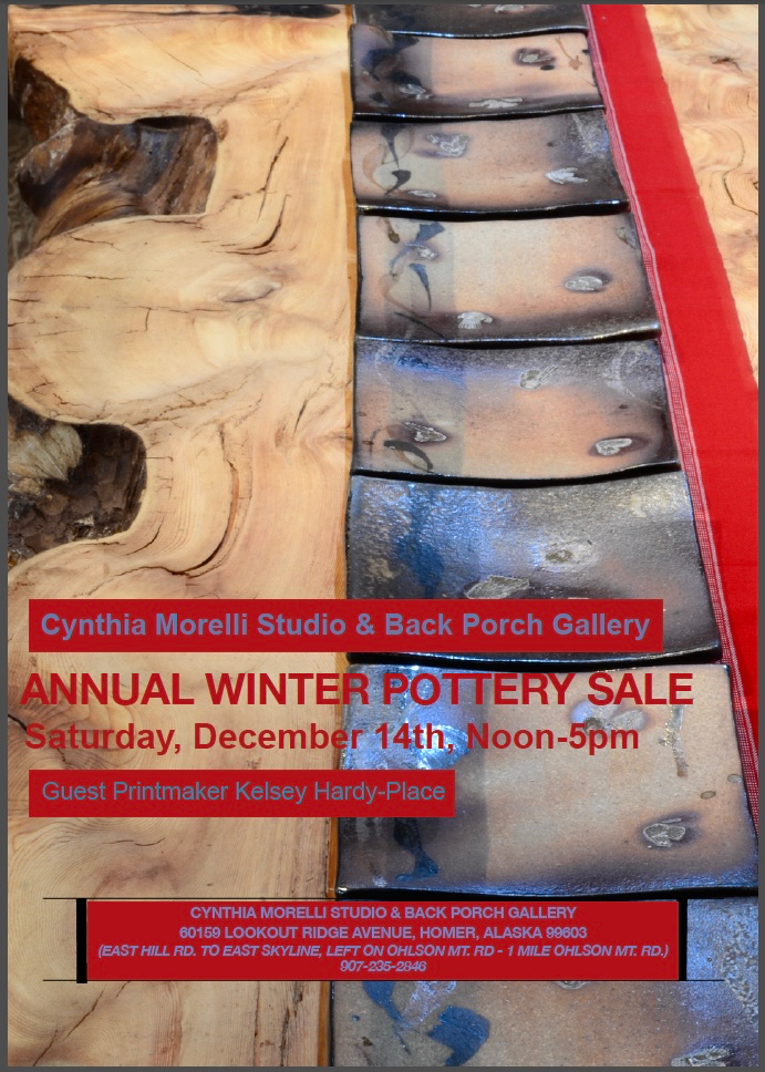 Cynthia Morelli Studio & Back Porch Gallery annual Winter Pottery Sale Saturday, December 14th, Noon-5pm Guest Printmaker Kelsey Hardy-Place